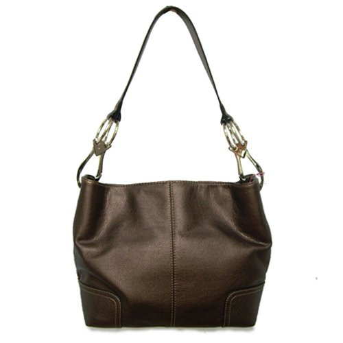 Tosca Classic Medium Shoulder Handbag,Medium,Metallic Brown