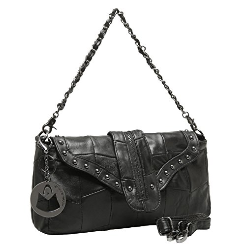 MG Collection RAVEN Black Genuine Leather Studded Satchel Handbag / Clutch Purse