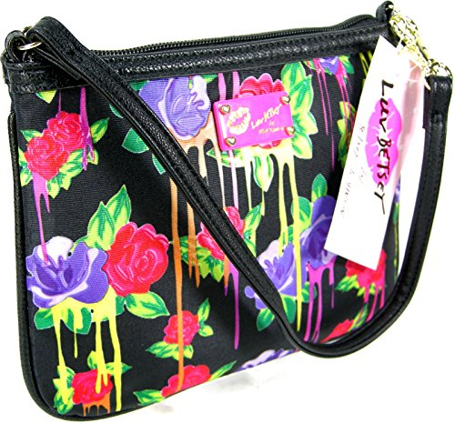 Betsey Johnson Luv Wristlet Phone Purse Hand Bag Floral Roses Multicolor