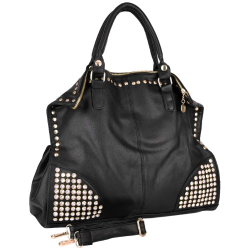 MG Collection ARRIAN Black Gothic Rhinestone Studded Shopper Hobo Handbag
