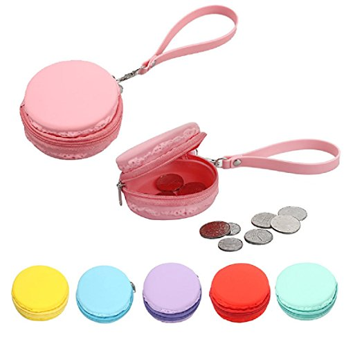 DZT1968(TM)Candy Color Women Waterproof Silicone Macaron Round Wallet Coin Purses Clutch Money Bags With Zipper Strap