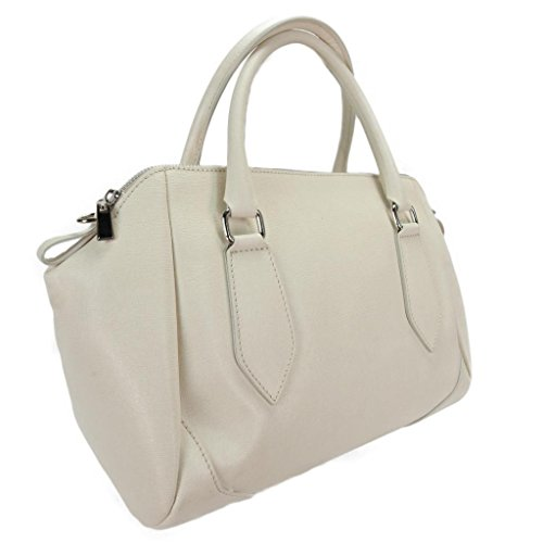 H&S Collection 5198-61 AV SASHA Made in Italy Ivory Structured Leather Sacthel/ Shoulder Bag