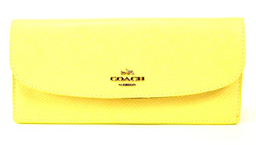 New Coach Wallet Pale Yellow Purse Hand Bag Clutch XGrain Soft Genuine Leather