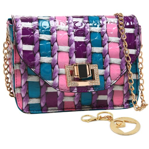MG Collection AMY Pastel Mini High Gloss Rhinestone Crossbody Shoulder Bag