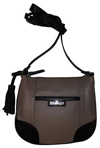 Tignanello Women's/Girl's Classic Prep Xbody Handbag, Mushroom/Black