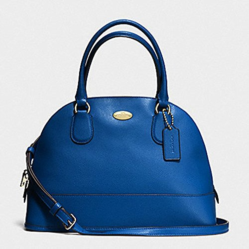 COACH CROSSGRAIN CORA DOMED SATCHEL, F33909, DENIM BLUE