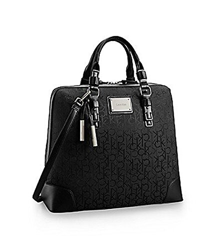 Calvin Klein Womens Logo Jacquard Large Dome Satchel Black