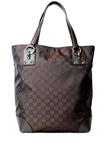 Gucci Nylon Leather Tote Shoulder Bag in Brown
