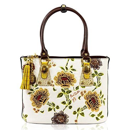 Marino Orlandi Italian Designer Handpainted White Leather Large Tote Bag