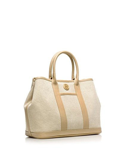 Tory Burch Brooke Dark Buff Canvas & Leather Tote