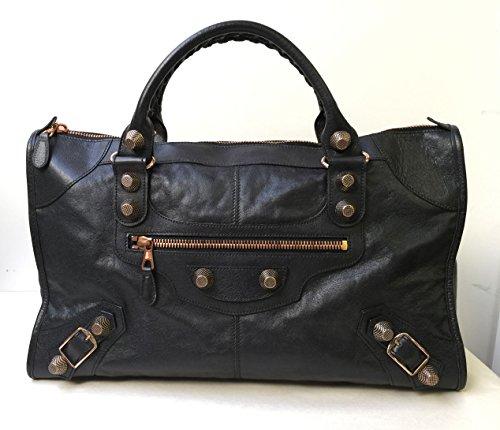 Balenciaga Black Lambskin Rose Gold Hardware RGGH Work size Satchel Bag