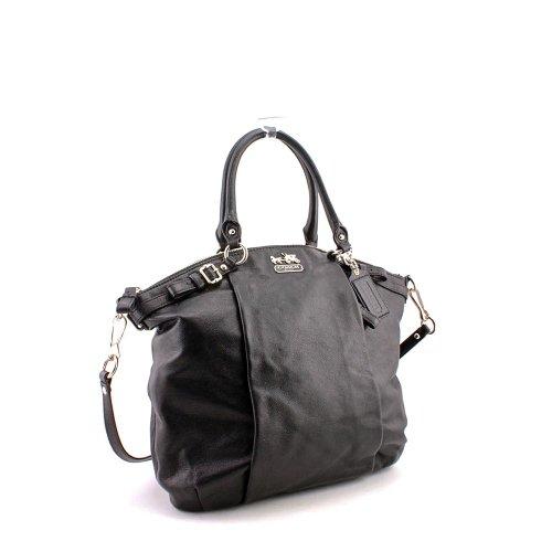 Coach Madison Leather Lindsey Satchel Handbag Purse Tote 18641 Black