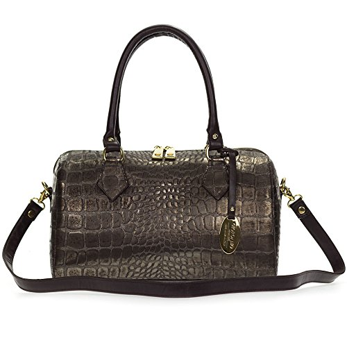 Giordano Italian Made Crocodile Embossed Bronze Leather Satchel Handbag