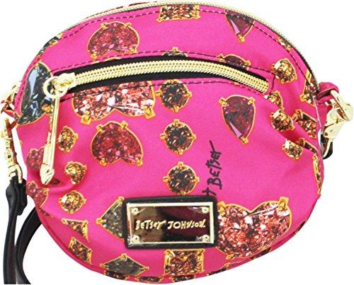 Betsey Johnson Mini Crossbody, Pink with Jewel Print