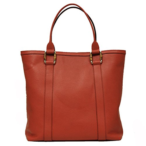 Gucci Bamboo Top Handle Large Coral Leather Portfolio Business Tote Bag
