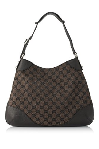 Gucci Brown Leather and Canvas Hobo Shoulder Bag 272386
