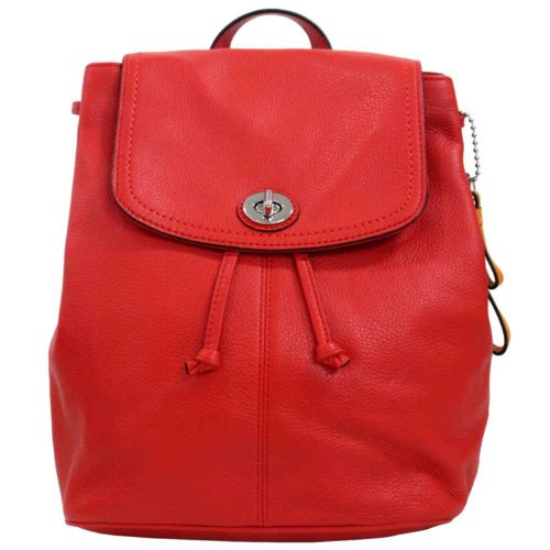 Coach 24385 Vermillion Red Park Leather Backpack