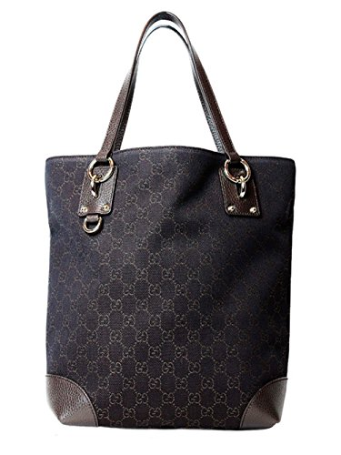 Gucci Women's GG Guccissima Print Canvas Leather Tote Bag Purse in Brown