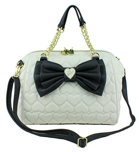 Betsey Johnson Bow Dr Satchel Shoulder Handbag, Bone Black