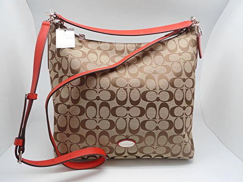 Coach Woman's Khaki Beige Red Signature Logo Leather Shoulder Bag Handbag