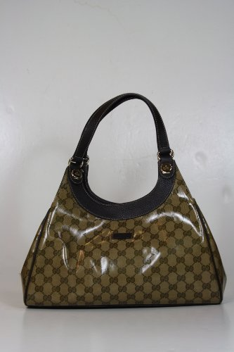 Gucci Handbags Crystal (Coating) Beige and Brown Leather 289714