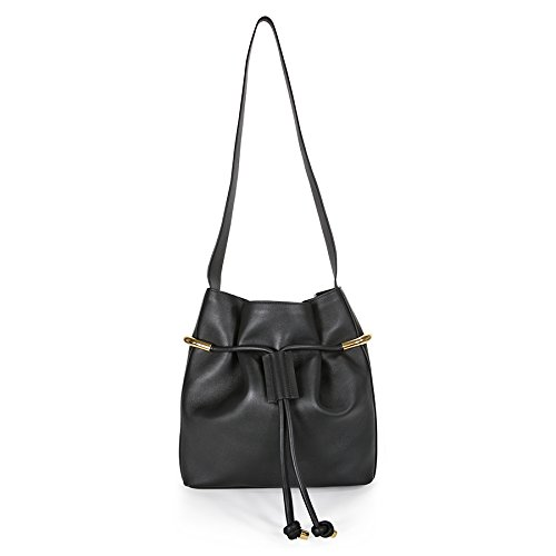 Chloe Emma Calfskin Drawstring Shoulder Bag – Black