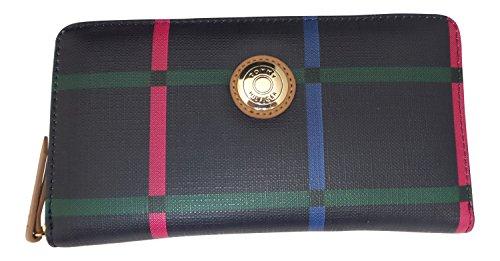 Tommy Hilfiger Handbags for Women Navy Plaid Zip Around Wallet
