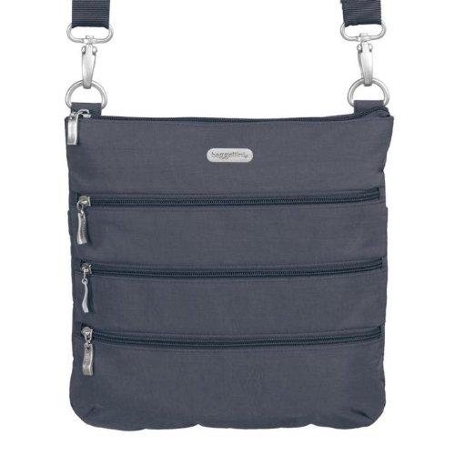 Baggallini Women's Big Zipper bagg Charcoal/Fuschia