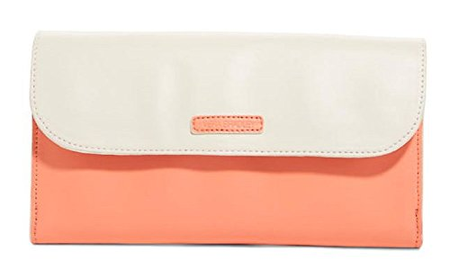 Gorgeous Vera Bradley Flap Clutch Handbag in Coral/Off White Faux Leather Collection