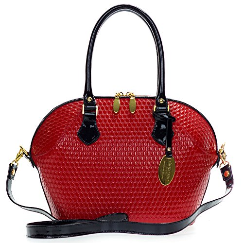 Giordano Italian Made Tote Handbag in Red Patent Leather with Black Handles