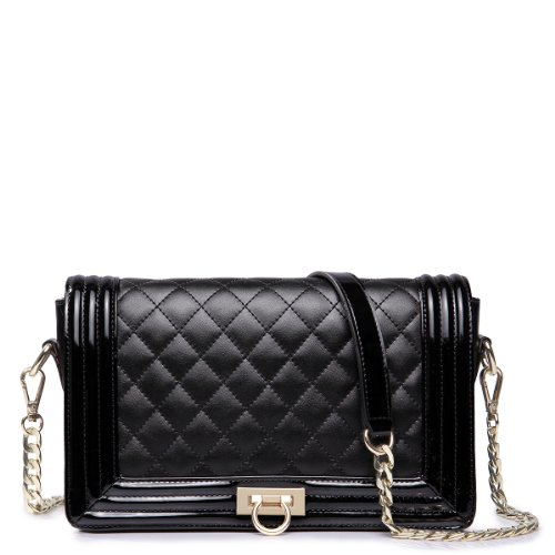 Nucelle Classic Collection Women's Spiraea Rhythm Genuine Leather Quilted Chain Lock Series Shoulder Bag (Black)