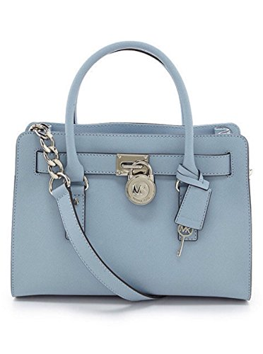 Michael Kors Hamilton Ew Saffiano Leather Medium Satchel New Handbag Pale Blue