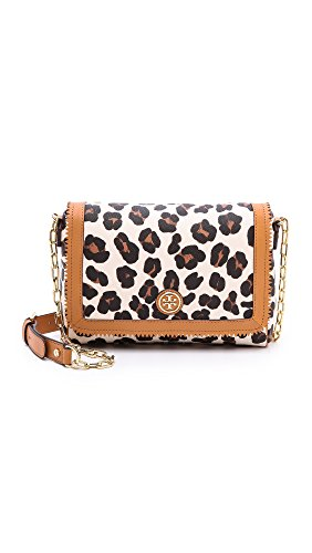 Tory Burch Kerrington Ocelot Leopard Cross Body Shoulder Bag Brown Whilte