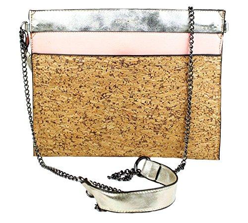 "Pixie Mood Vegan-Friendly Pink ""Jill"" Cork Clutch / Crossbody Bag"