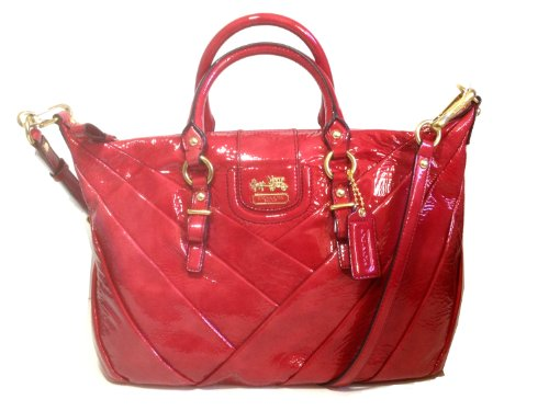 Coach Madison Diagonal Pleated Patent Leather Juliette Satchel 21304 Tote Ruby