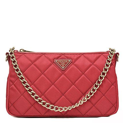 Prada Tessuto Impuntu Pink Quilted Nylon Chain Handle Shoulder Bag