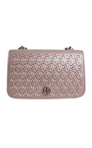 Tory Burch Robinson Floral Perforated Adjustable Shoulder Bag in French Gray