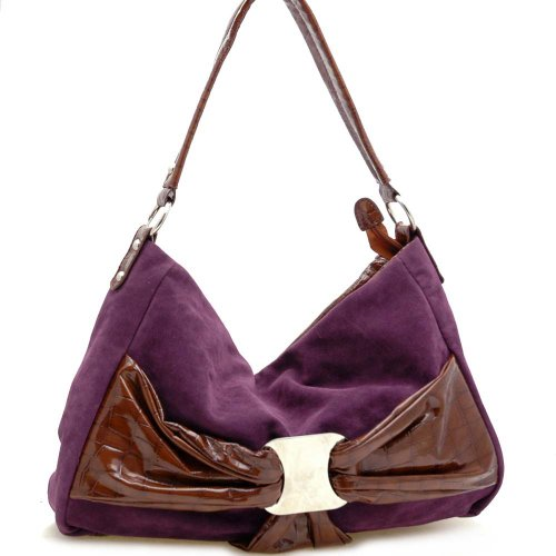 Dasein Women's Bow Front Faux Suede Croco Trim Leather Like Hobo Bag Handbag