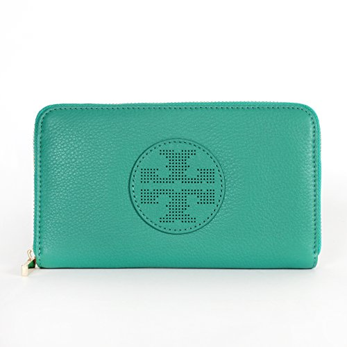 Tory Burch Kipp Zip Continental Leather Wallet in Viridian Green