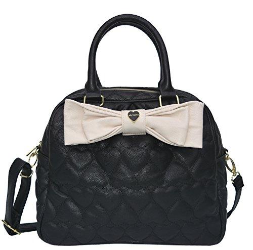 Betsey Johnson Polka Dot Dome Satchel Handbag Black White