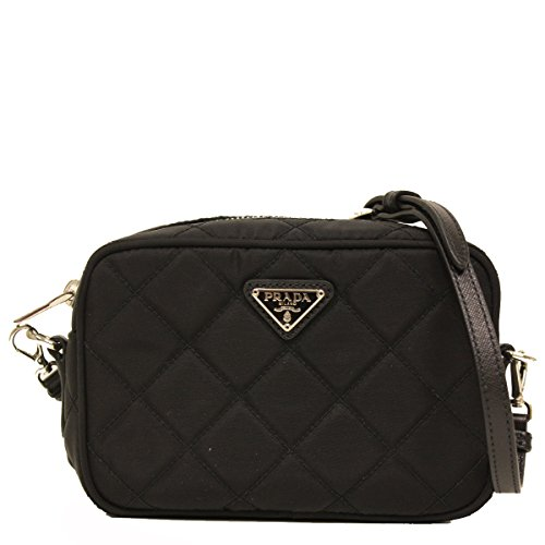 Prada Tessuto Small Black Quilted Nylon Crossbody Shoulder Bag