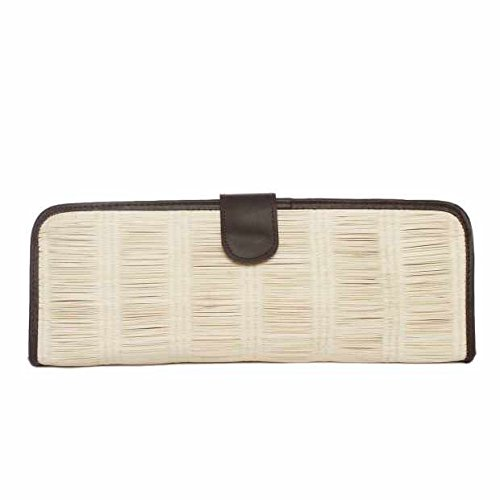 Jay Michaels Mikaela Leather/Buntal Woven Clutch Handbag