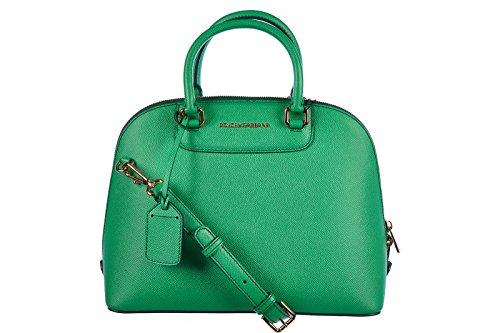 DOLCE&GABBANA women's leather handbag shopping bag purse print calfskin green