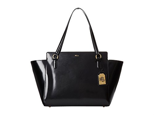 LAUREN by Ralph Lauren Taylor Large Modern Leather Satchel Handbag in Black