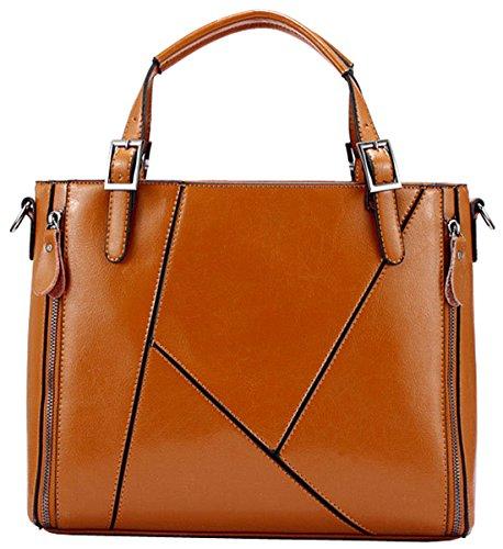 Heshe® Women's New Fashion Genuine Leather Tote Handle Bag Top Handbag Shoulder Bag Cross-body Handbag Personality Charm Simple Style for Ladies