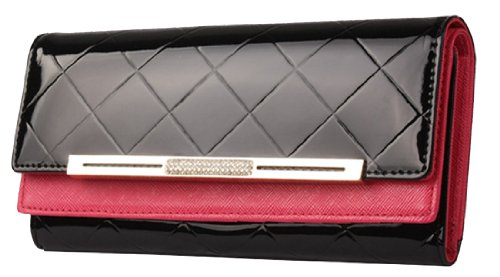 Heshe Women's Genuine Leather Long Clutch Purse Handbag Change Case with Checks Purse Double Layer Wallet 13 Credit Card Holder