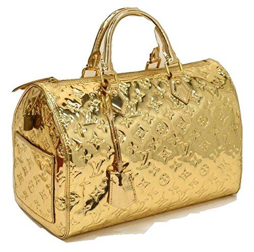 Authentic Louis Vuitton Monogram Miroir Speedy 30 Gold