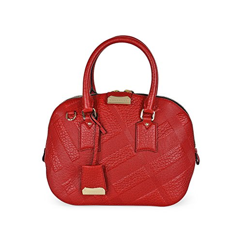 Burberry Small Orchard Leather Bowling Bag – Military Red