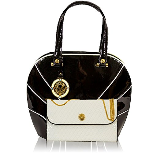 0ef9331a0d Valentino Orlandi Italian Designer Black/White Patent Leather Bag & Wallet  Set