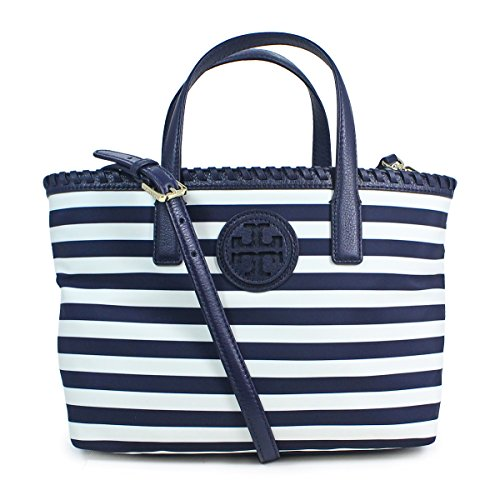 Tory Burch Classic Awning Navy Blue Marion Printed Small Bag Tote Purse